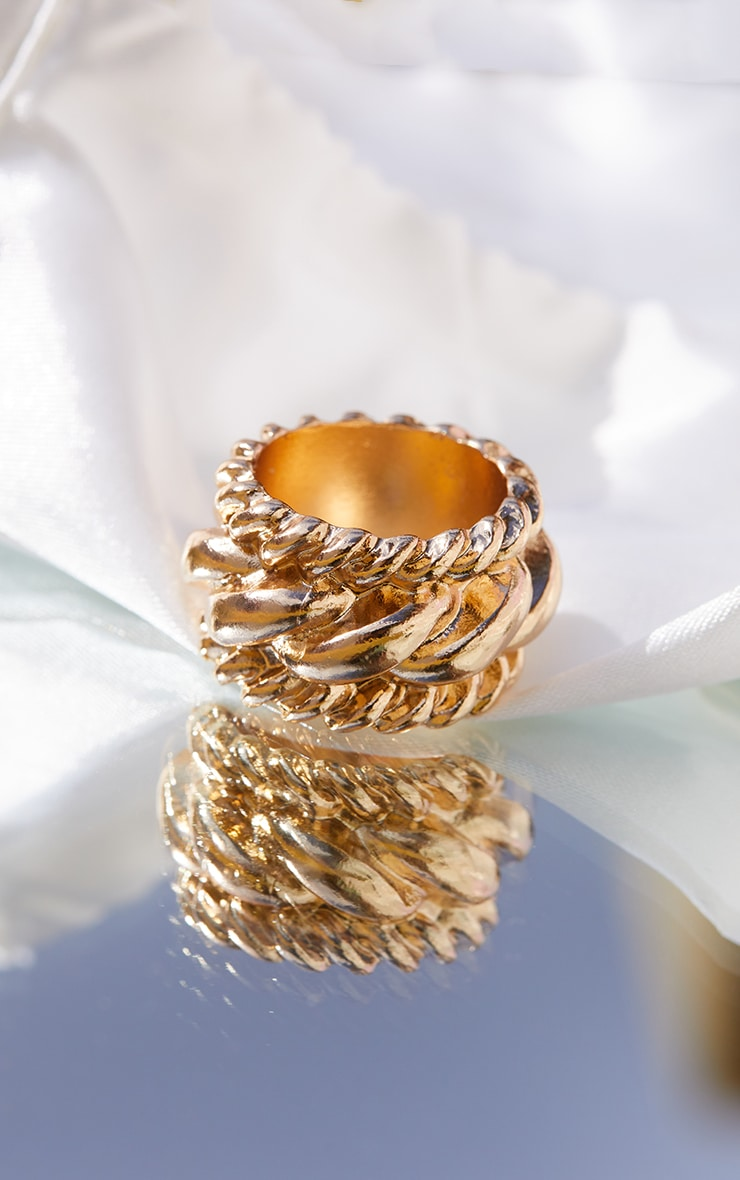 Gold Chunky Chain Detail Ring