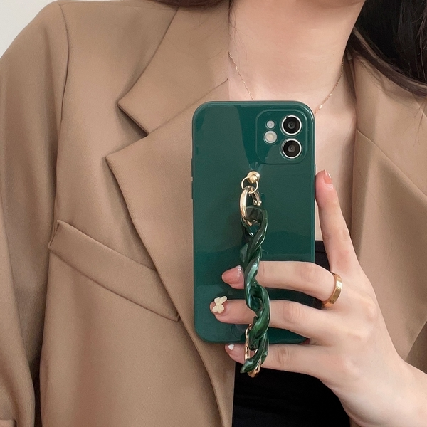 韓國ins冷淡風墨綠大理石手鏈蘋果手機殼 iphone12/11Promax/Xr/78Plus/Xsmax