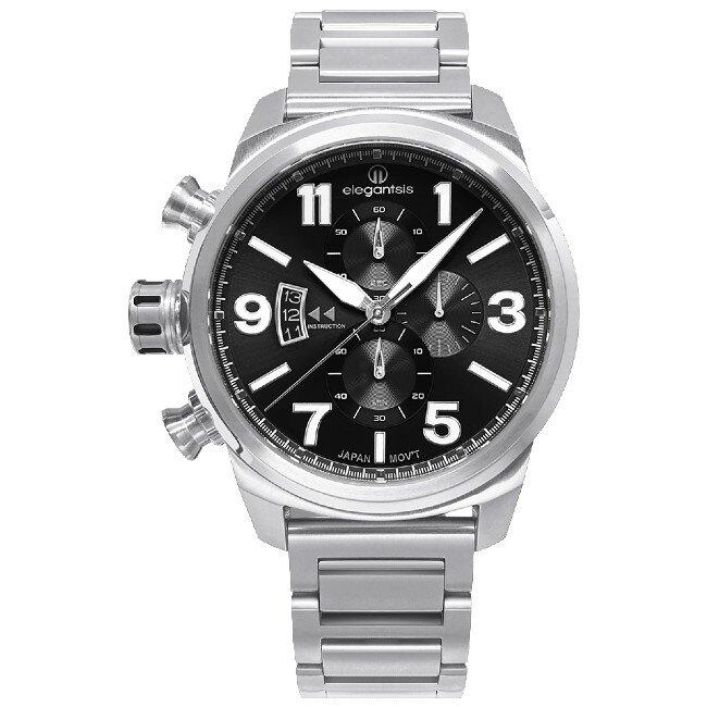 elegantsis 愛樂時 ELJT48MQS-OB06MA 經典時尚三眼計時錶 黑 46mm