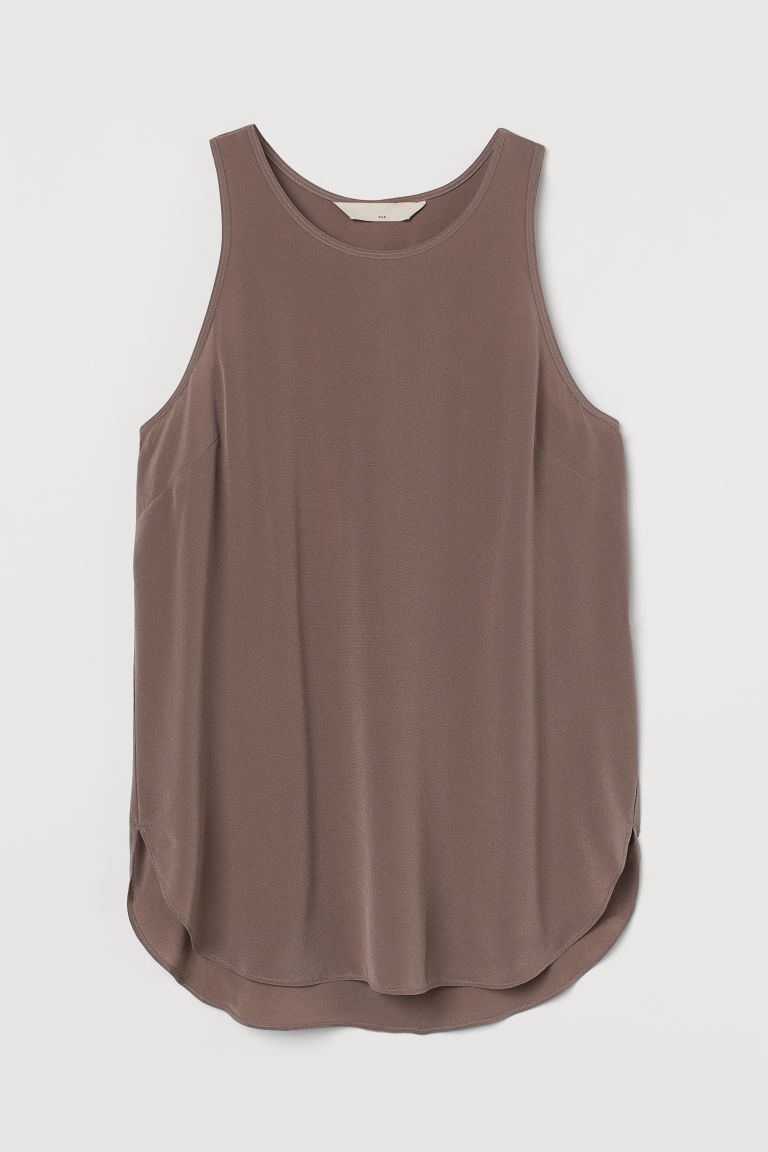H & M - 真絲縐紗上衣 - 紫色