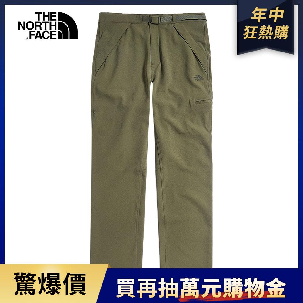 The North Face北面男款綠色防潑水調節腰帶休閒褲|49CM7D6