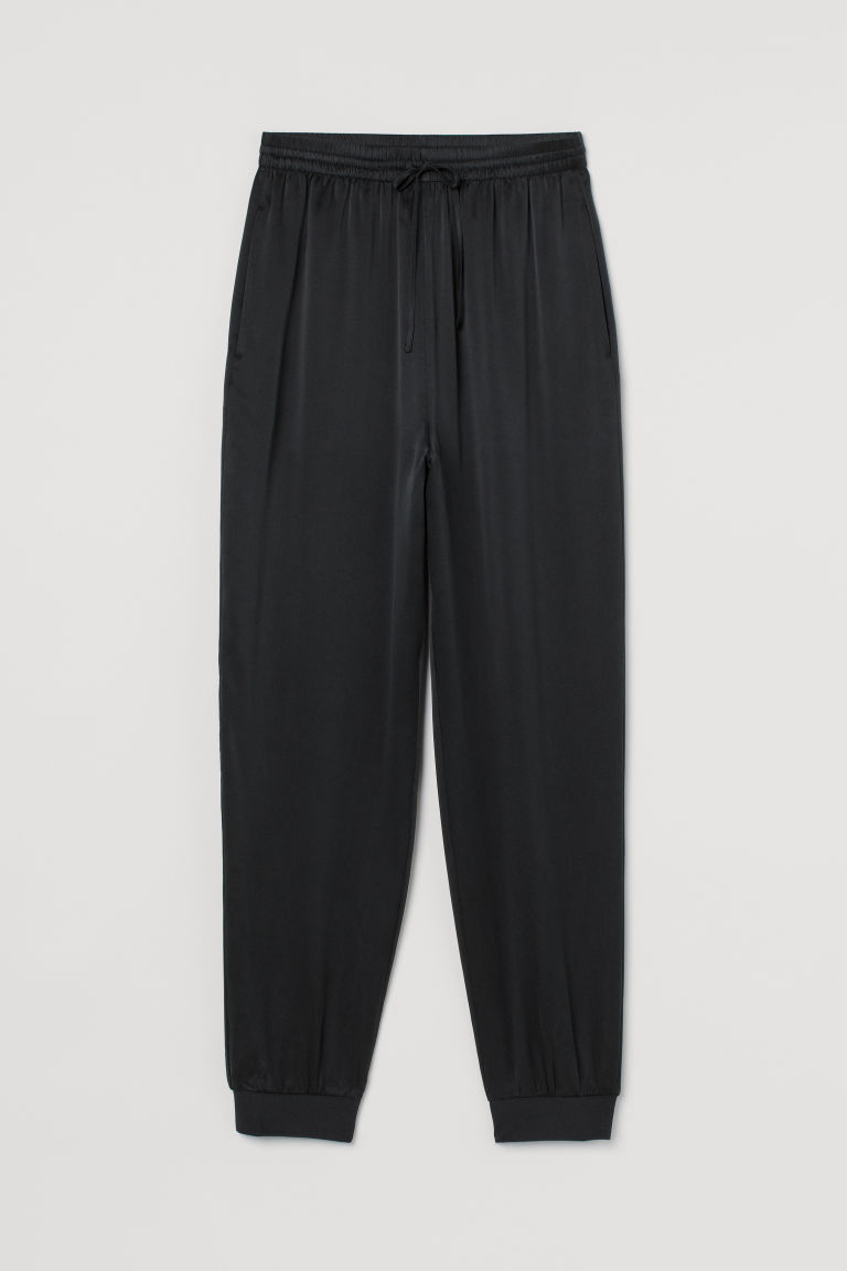 H & M - 真絲慢跑褲 - 黑色