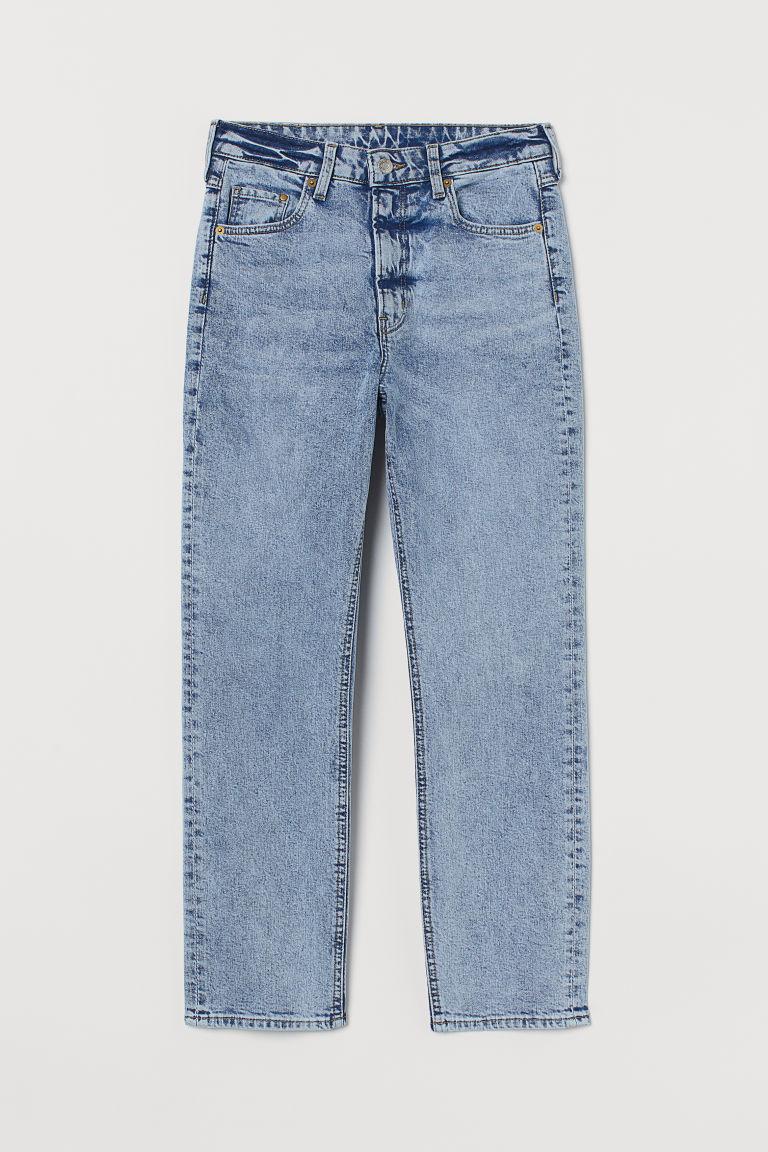 H & M - 復古貼身高腰九分牛仔褲 - 藍色
