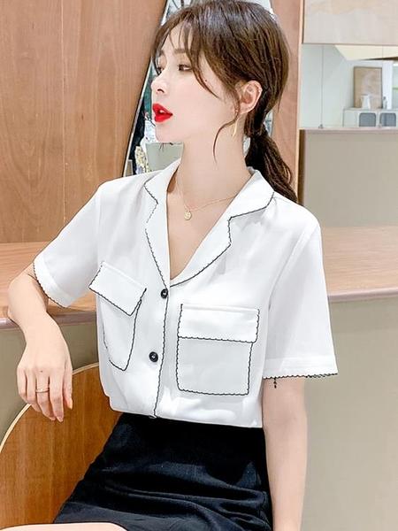 職業襯衫 白色短袖襯衫女設計感小眾2021夏季新款寬松顯瘦法式雪紡v領上衣