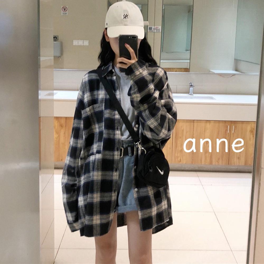 anne M8409 格子襯衫外套 長袖襯衫 長袖上衣 小外套 罩衫 復古 薄外套 女裝 港味 上衣 寬鬆外穿 ins潮