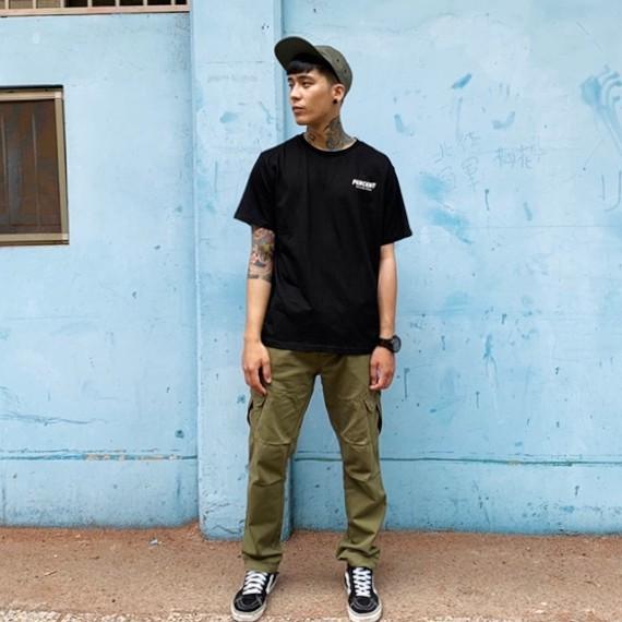 PERCENT% WT6007 綠 S-2XL 斜口袋工作長褲 工作長褲 工裝褲  縮口褲 休閒長褲 工作褲 大尺碼長褲