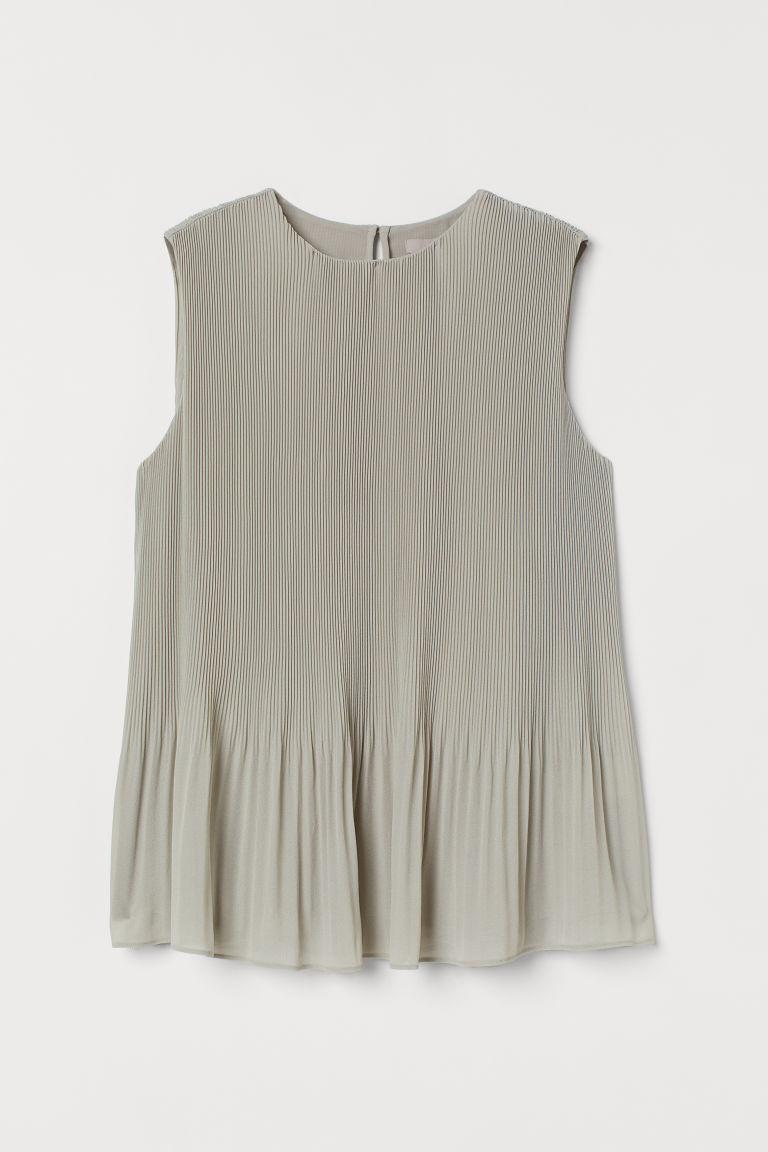H & M - 百褶上衣 - 綠色