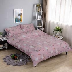 【夢工場】夢粉兔兔細棉天絲兩用被舖棉床包組-雙人