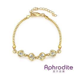 【Aphrodite 愛芙晶鑽】幾何縷空美鑽造型手環(黃金色)