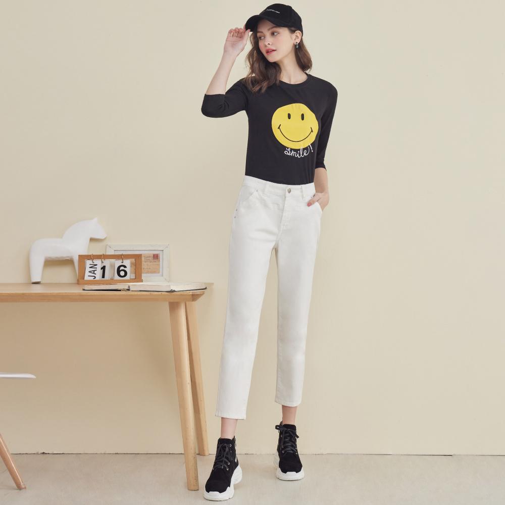 niceioi率性切線造型純白牛仔長褲