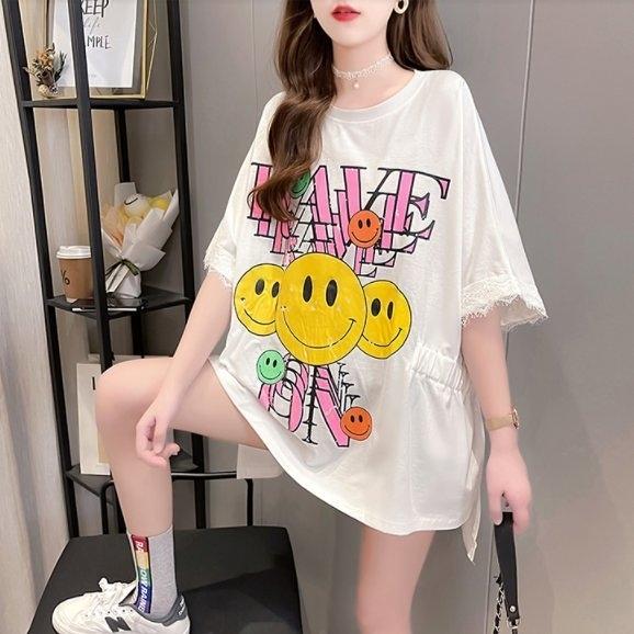 T恤上衣M-2XL韓版寬鬆圓領拼接蕾絲中長款大碼女裝短袖T恤MB127.Q117胖胖唯依