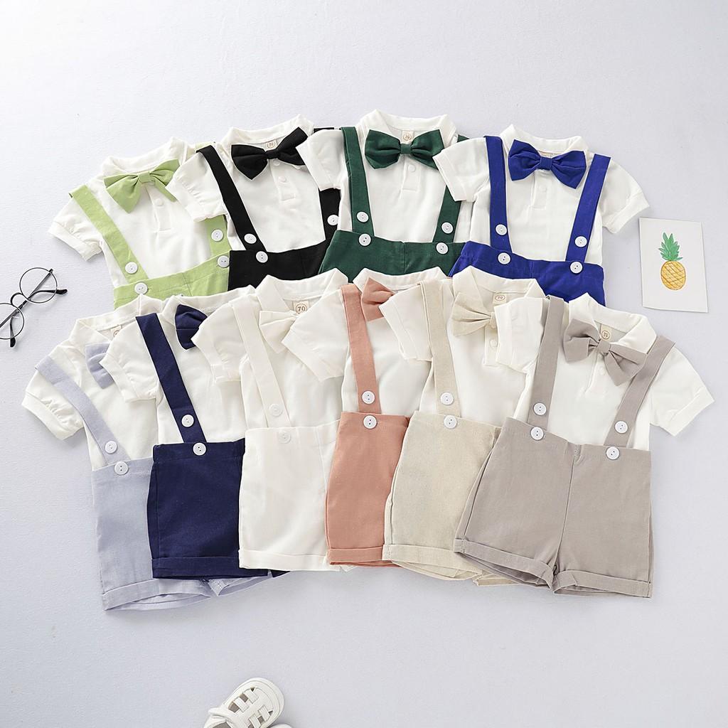 中小童 男嬰短袖套裝 可愛小紳士 新生兒短袖包屁衣 素色背帶褲短褲 休閒日常 彌月禮