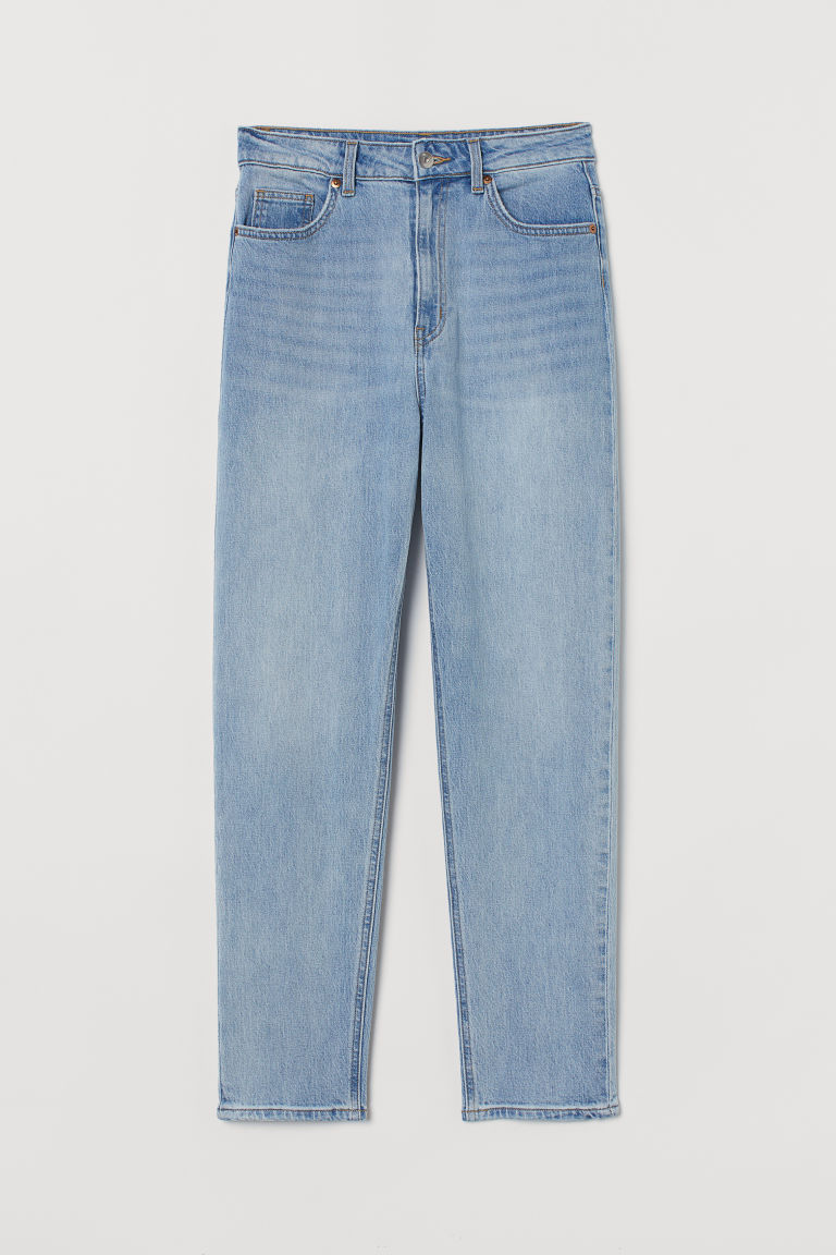 H & M - 貼身老媽高腰九分牛仔褲 - 藍色