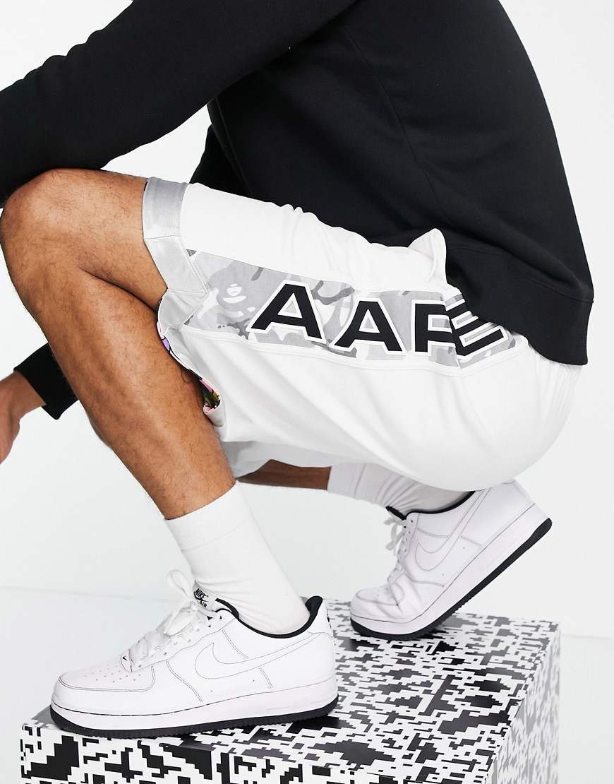 AAPE By A Bathing Ape reversible co-ord jersey shorts in white/camo
