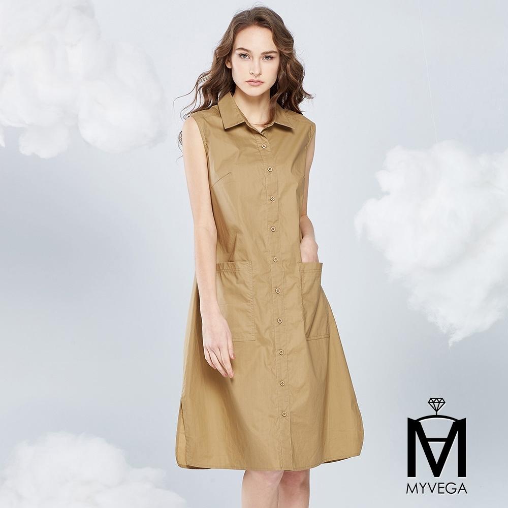 【麥雪爾】MA純棉俐落傘擺長版背心洋裝