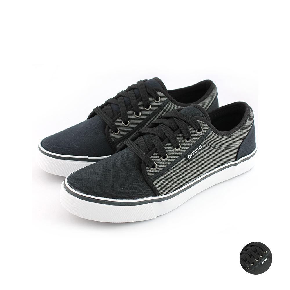 ARRIBA艾樂跑男鞋-素色帆布鞋-灰/黑(AB8063)