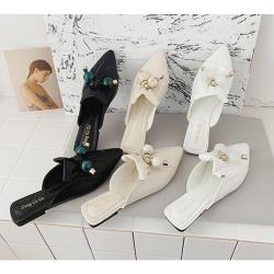 【Taroko】夏氛時光貝殼珍珠尖頭平底包頭拖鞋(3色各2款可選)