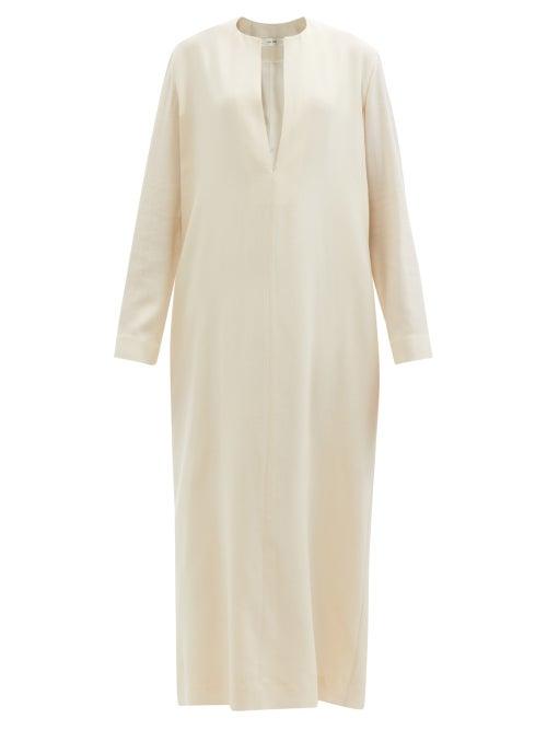 The Row - Simona Notch-neck Wool-twill Dress - Womens - Ivory