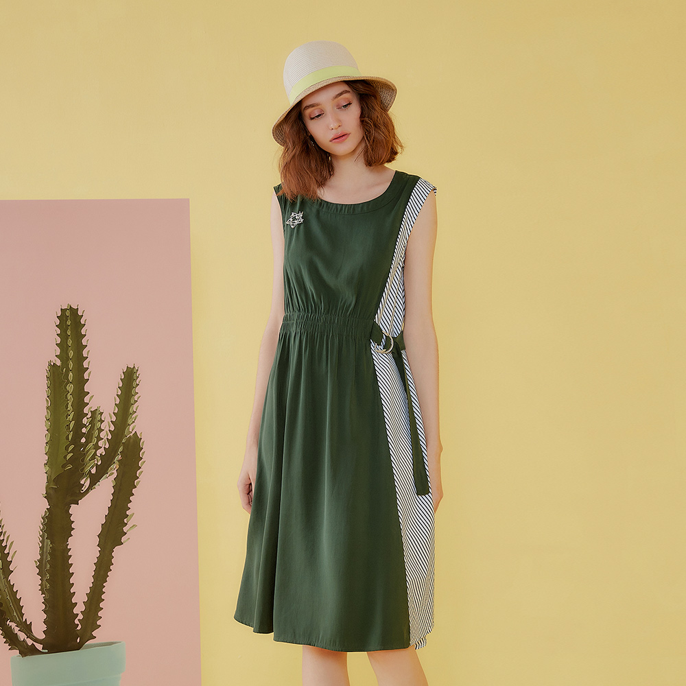 OUWEY歐薇 都會俐落條紋拼接洋裝(綠)J13705