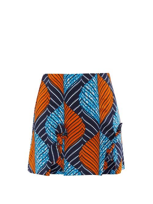 Lisa Folawiyo - Akira Ankara-print Cotton Mini Skirt - Womens - Blue Multi
