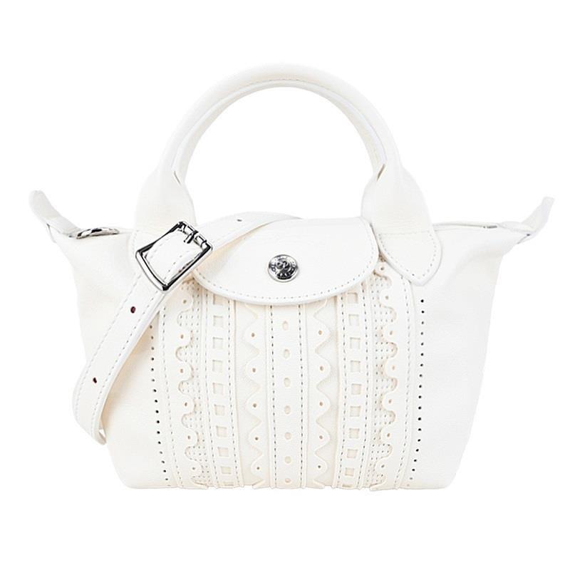 LONGCHAMP LE PLIAGE CUIR系列英式刺繡小羊皮手提/斜背兩用包 (迷你/象牙)