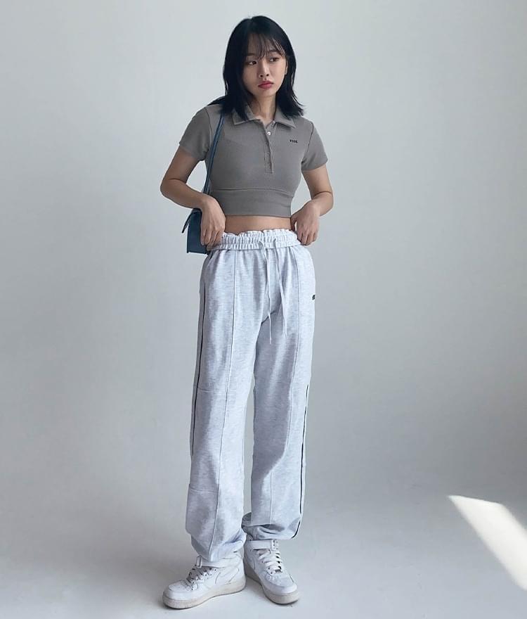 韓國空運 - Hide Collar Button Top Hide Cut Sweatpants (White Melange) 套裝