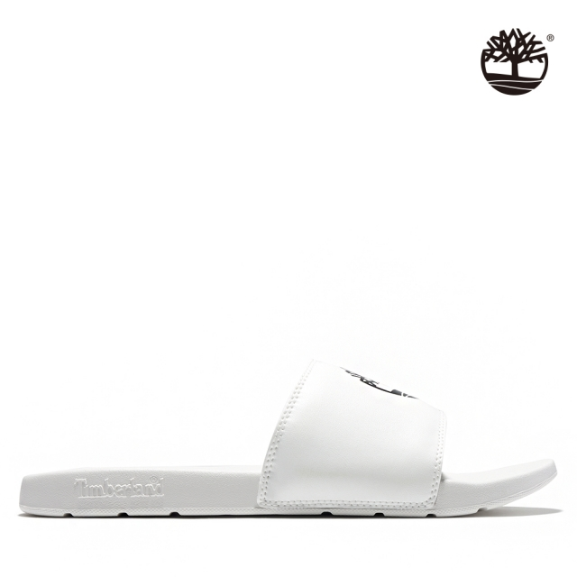 Timberland 男款白色品牌標誌休閒拖鞋|A24WN100