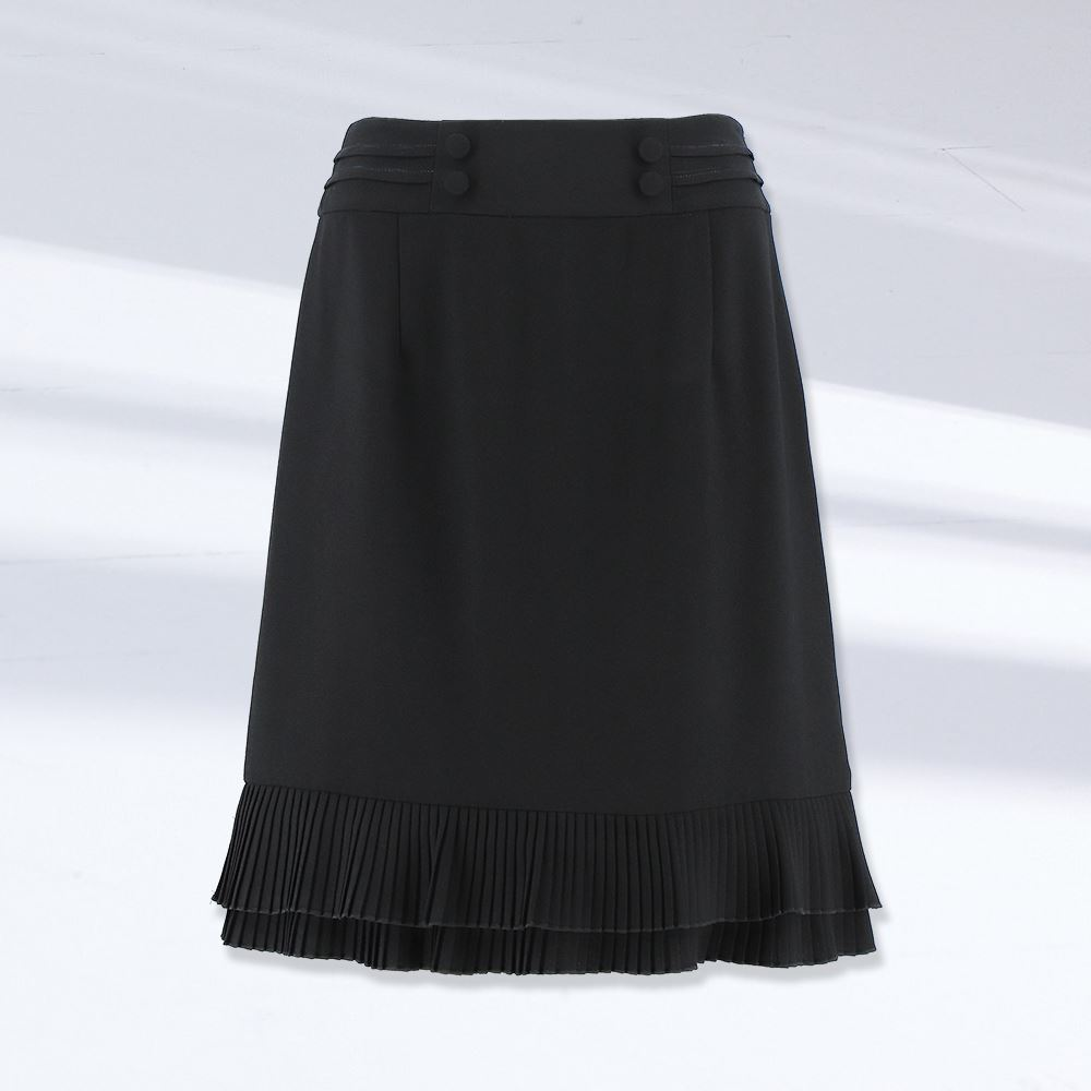 ILEY伊蕾 時尚名媛造型拼接壓褶魚尾短裙(黑)1212012177