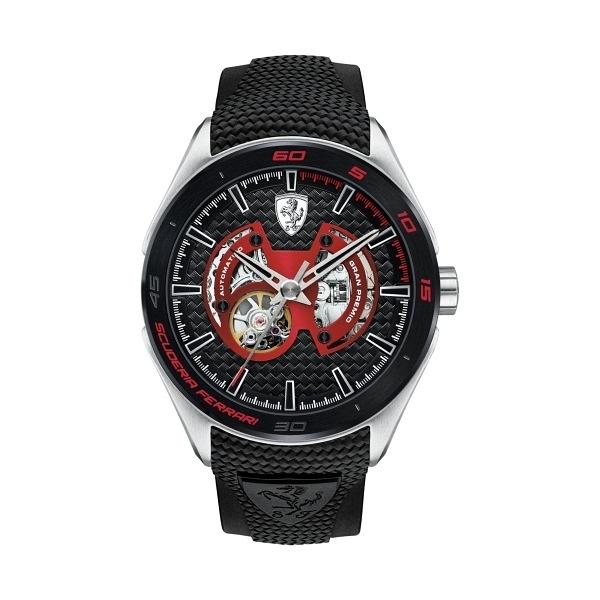 【Ferrari 法拉利】SCUDERIA特殊面盤設計賽車鏤空機械腕錶-低調紅/FA0830348/台灣總代理享兩年保固