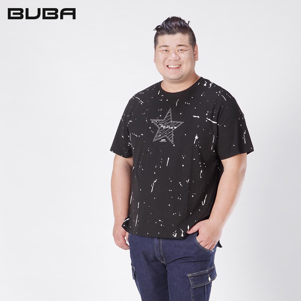 【BUBA】大尺碼黑色潑漆星星破壞彈性短袖TXL~5L 11712-88