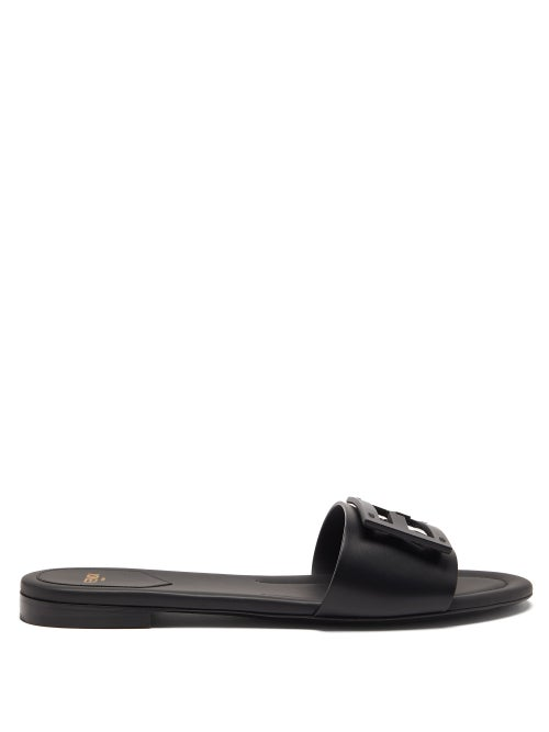 Fendi - Ff Cutout Leather Slides - Womens - Black