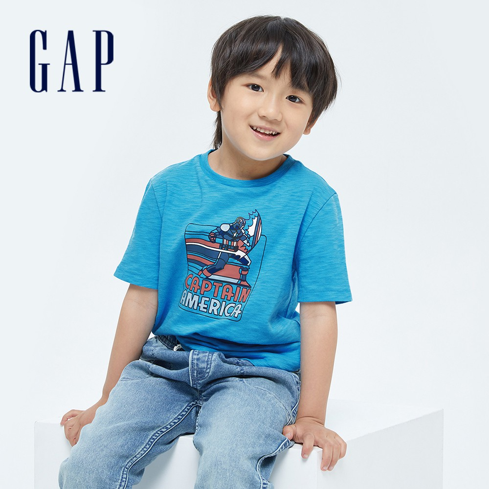 Gap 男童 Gap x Marvel 漫威系列純棉短袖T恤 689819-藍色