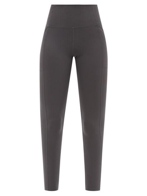Girlfriend Collective - High-rise Pocketed Recycled Fibre-blend Leggings - Womens - Grey