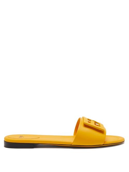 Fendi - Ff Cutout Leather Slides - Womens - Yellow