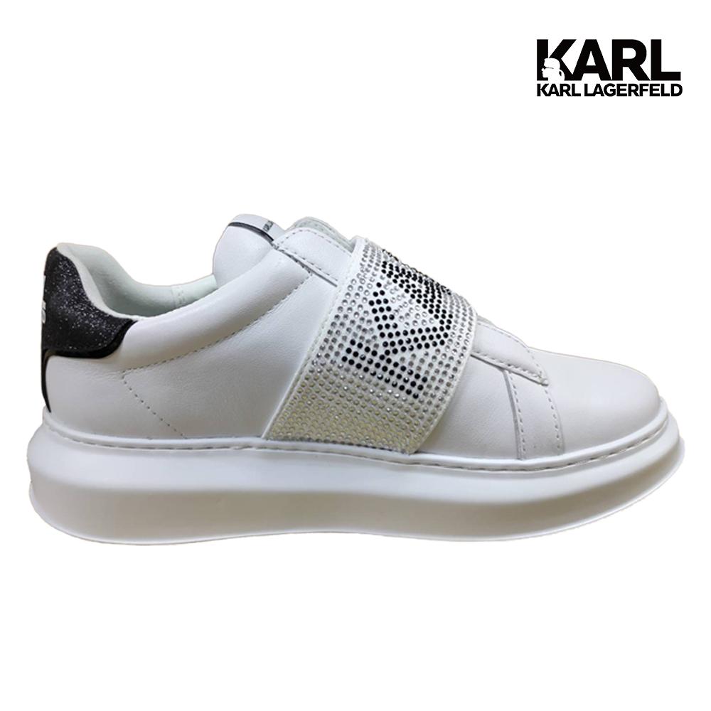 【KARL LAGERFELD】KAPRI水鑽KARL懶人運動鞋-白 (原廠公司貨)