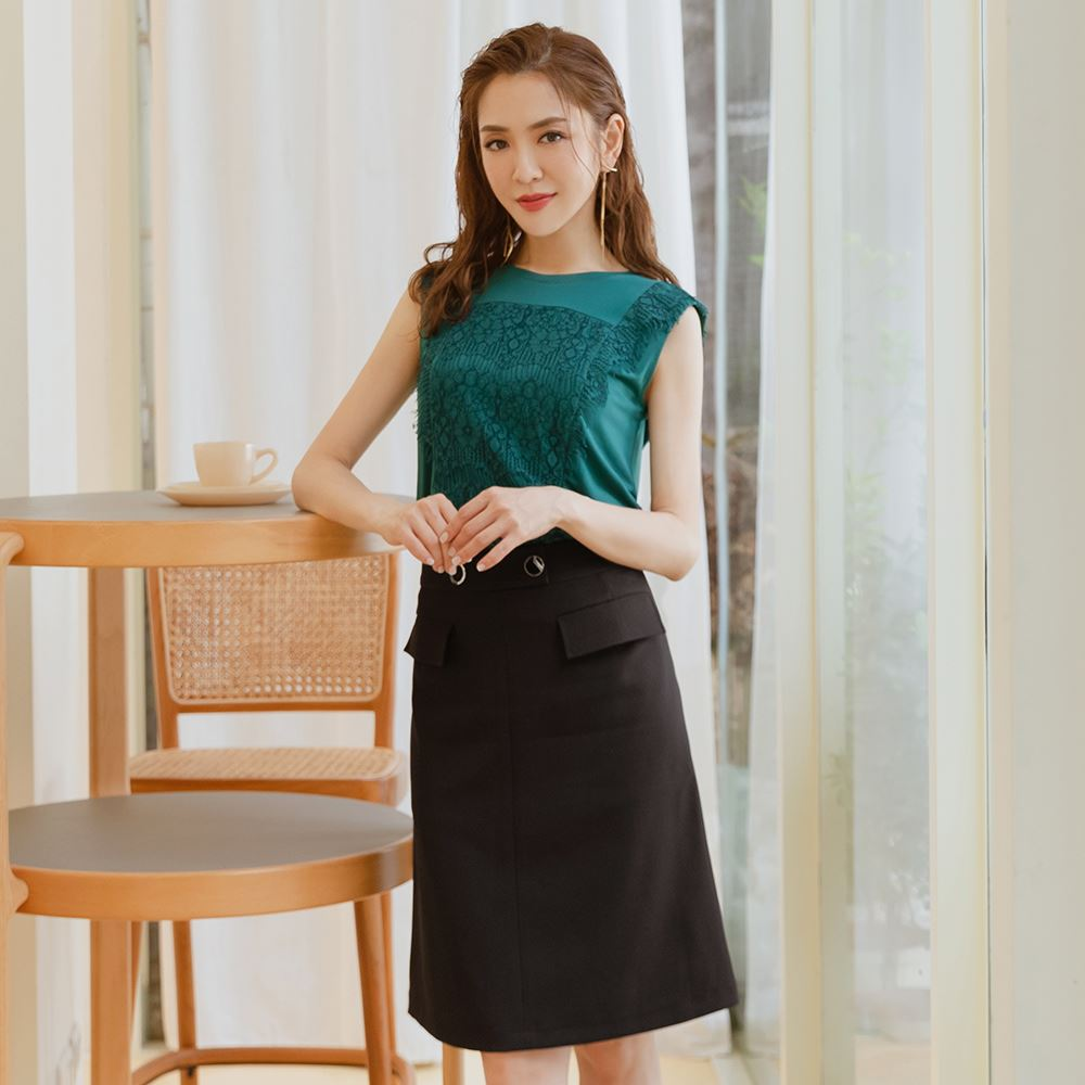 OUWEY歐薇 造型金屬釦蓋袋彈性長裙(黑)3212012104