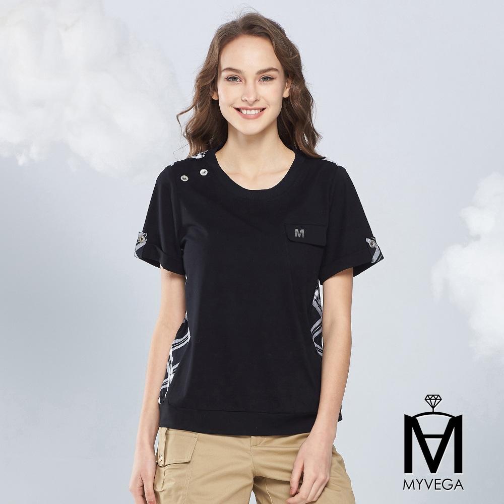【麥雪爾】MA裝飾口袋配色菱格紋上衣-黑