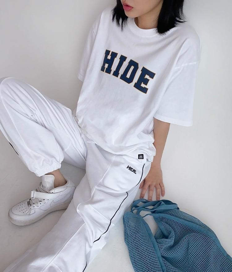 韓國空運 - Hide Logo Graphic T-shirt Hide Cut Sweatpants (White) 套裝