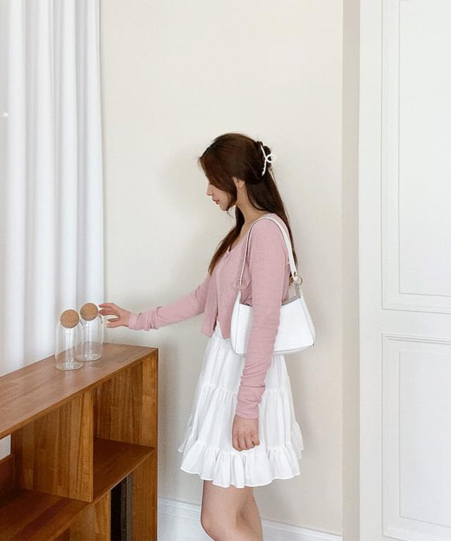 韓國空運 - Say One Button Linen Cardigan Set 針織外套