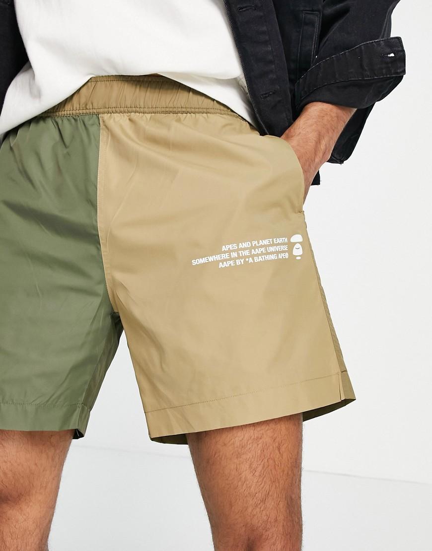AAPE By A Bathing Ape colour block nylon shorts in green/tan-Multi