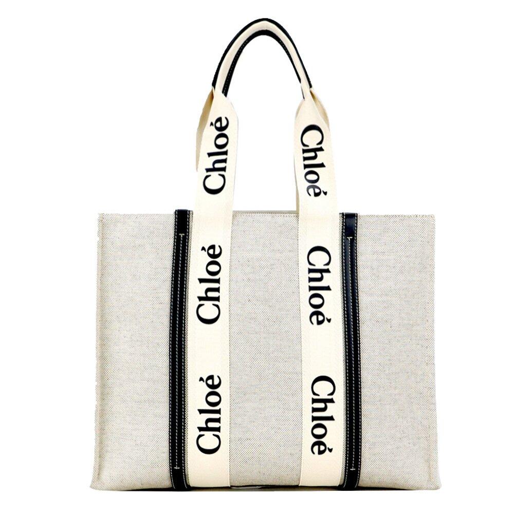 Chloé Woody tote bag帆布托特包(中號/海軍藍)