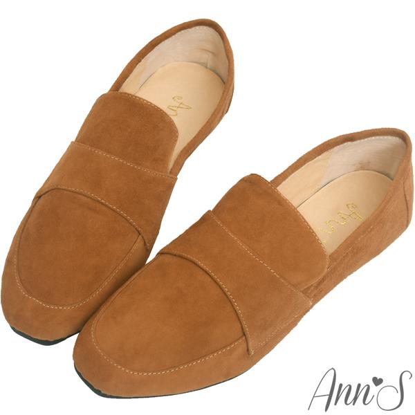 夏日必備SET最高現折$400Ann'S韓系素面Q彈超柔軟全真皮天堂懶人平底鞋-棕