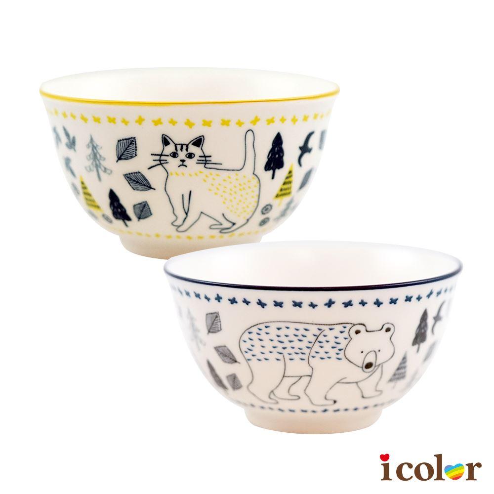 手繪風動物陶瓷碗(10.5cm)