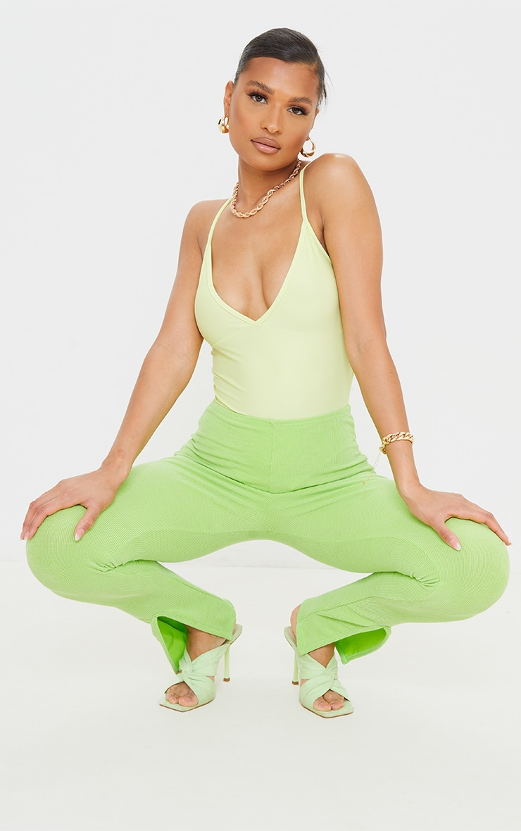 Lime Green Stretch Slinky Cup Detail Strappy Bodysuit