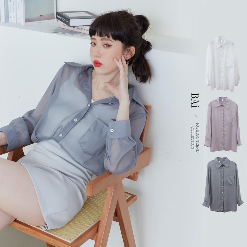 BAI e-shop 透肌感珠光雪紡紗寬鬆襯衫-【310535】