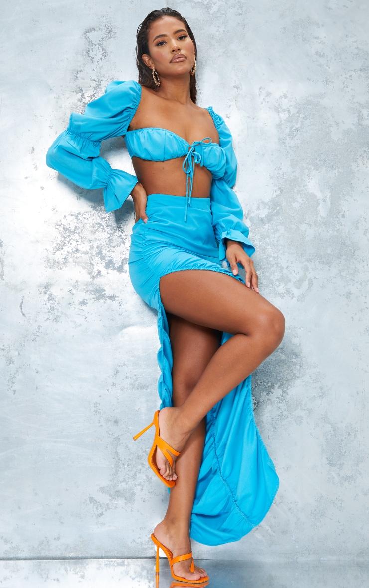 Bright Blue Woven Ruched Side Detail Split Leg Midaxi Skirt