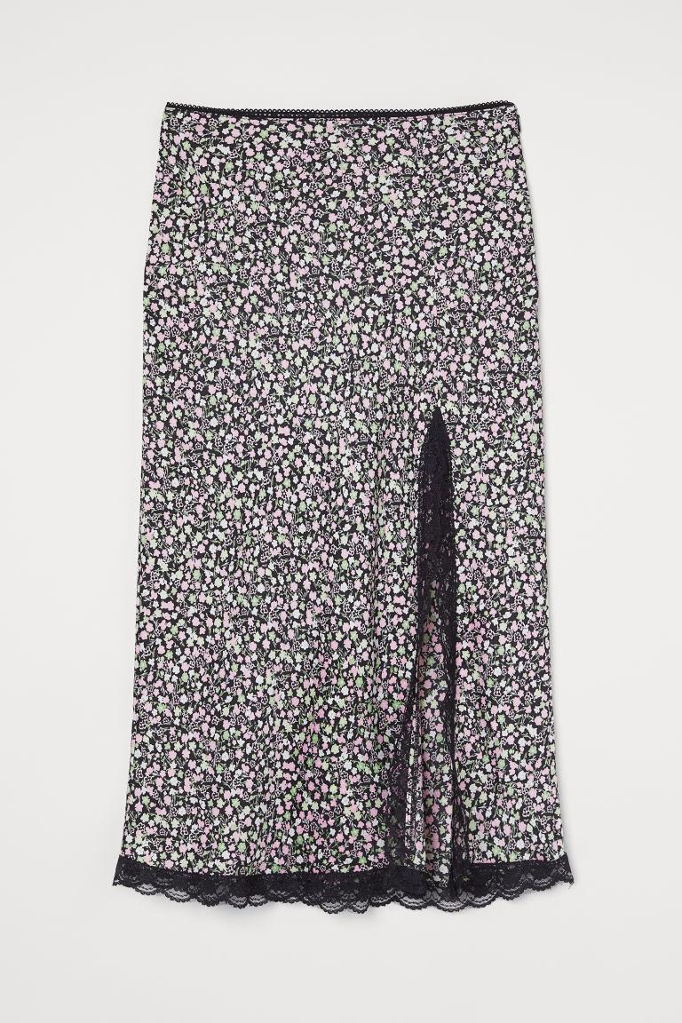 H & M - 蕾絲飾邊綢緞中長裙 - 黑色