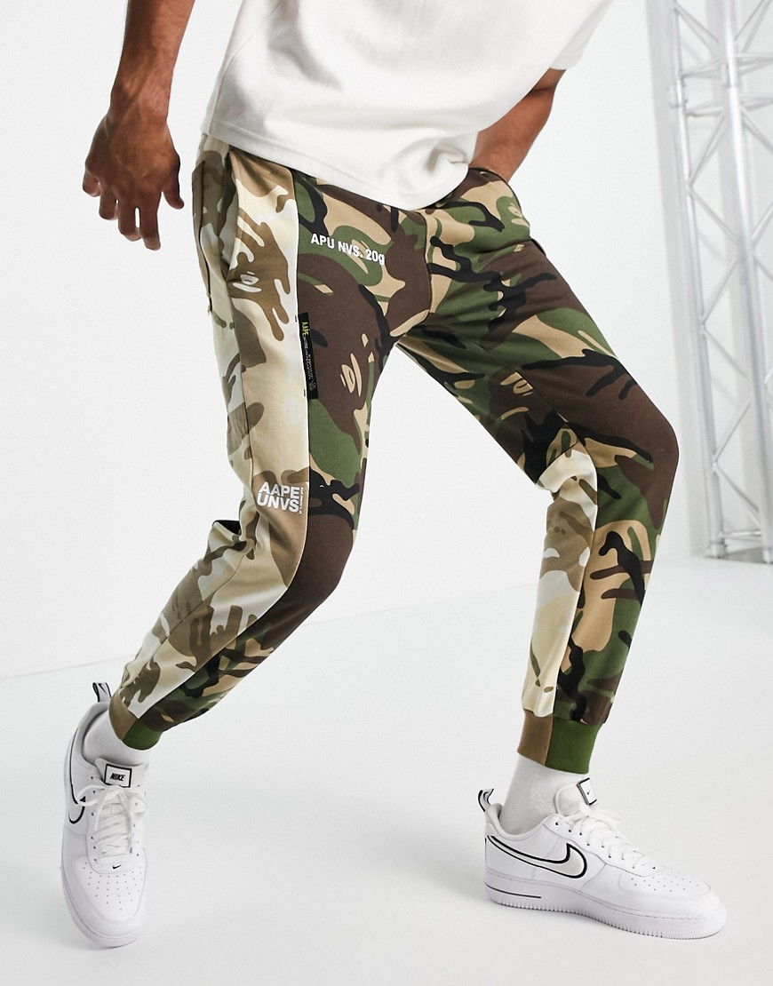 AAPE By A Bathing Ape camo block co-ord joggers in tan-Brown