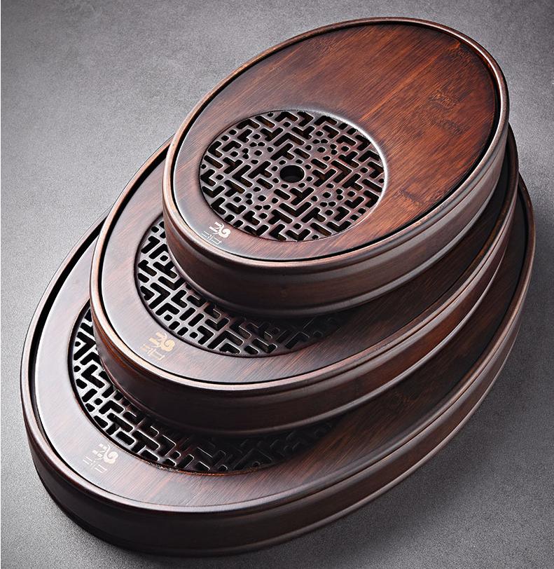家用胡桃色儲水式茶盤橢圓形茶托盤簡約家居百搭茶台盛水盤