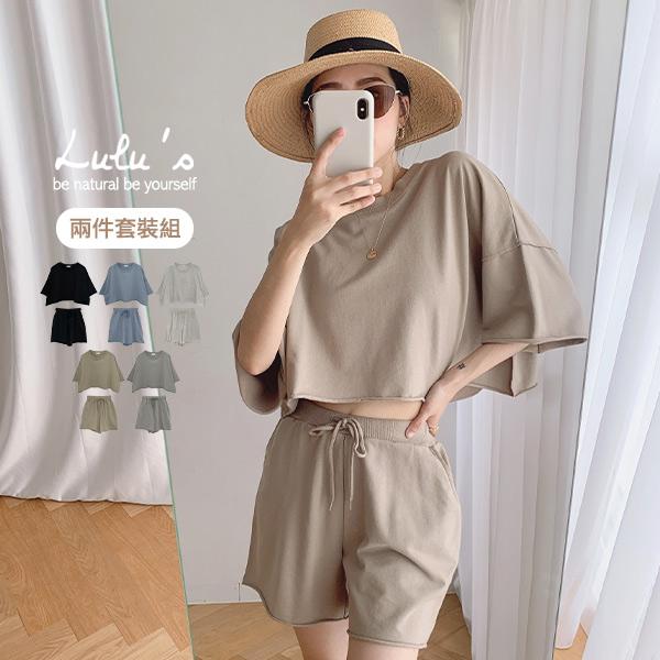 限時69折【A01210351】C兩件式-捲邊寬鬆上衣+短褲5色